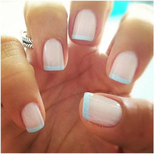 french manicure white blue