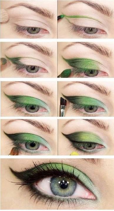 green cat eye makeup tutorial