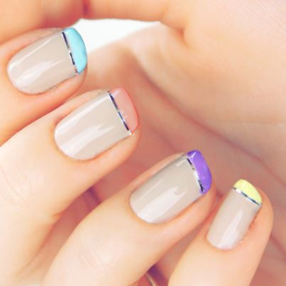 thin french manicure purple blue yellow