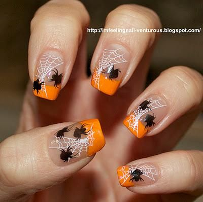 halloween nail art spider web orange