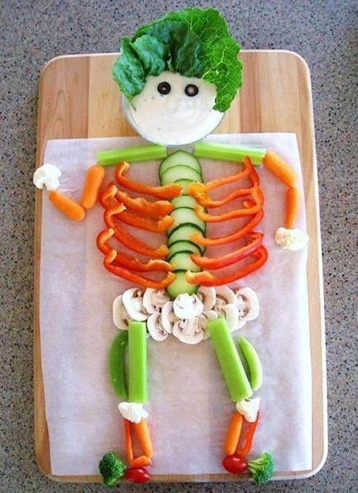 healthy halloween snack veggie skeleton