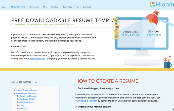 Resume and Cover Letter templates from Hloom.com