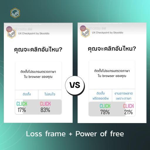 Loss frame + Power of free | Skooldio Blog - ออกแบบปุ่มกดให้คนกดคลิกด้วยหลักจิตวิทยา (Framing Effect)
