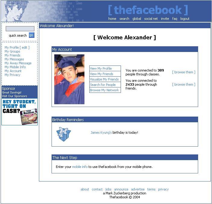 Facebook Frontpage