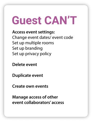 Guest can't Access event settings: Change event dates/event code Set up multiple rooms Set up branding Set up privacy policy Delete event Duplicate event Create their own events Manage access of other event collaborators