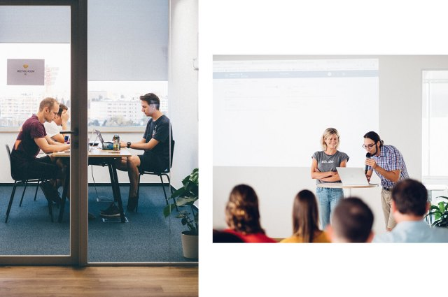 People working together during Slido hackathons