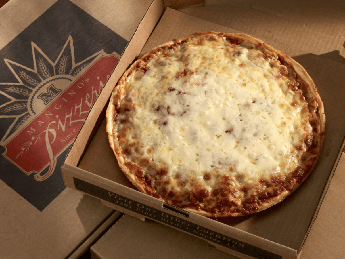Cheese pizza in a box