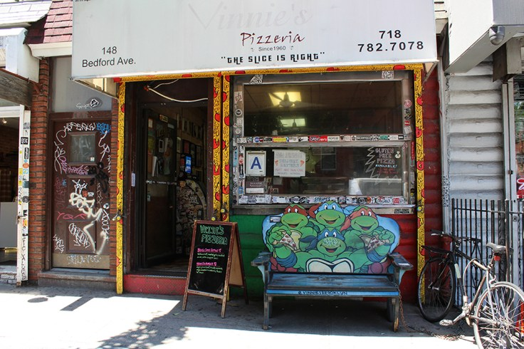 The store front of Vinnie's Pizzeria in Brooklyn.