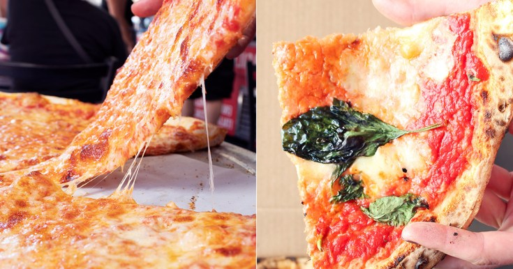 Cheese comparison between New York-style and Neapolitan pizza