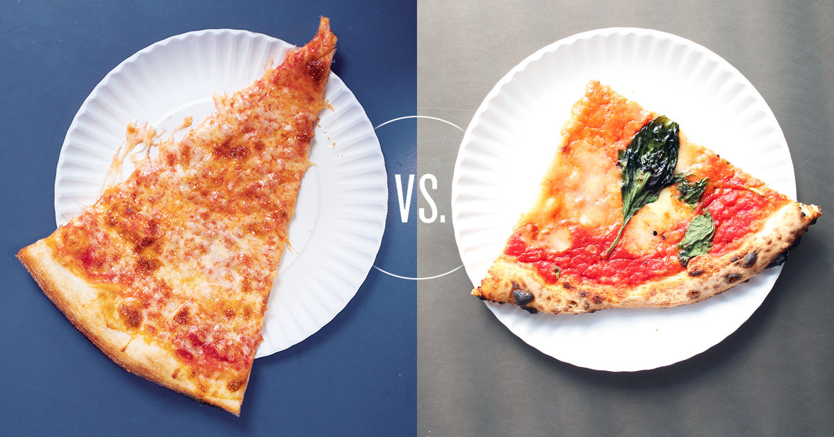 A slice of New York-style pizza on the left and Neapolitan on the right