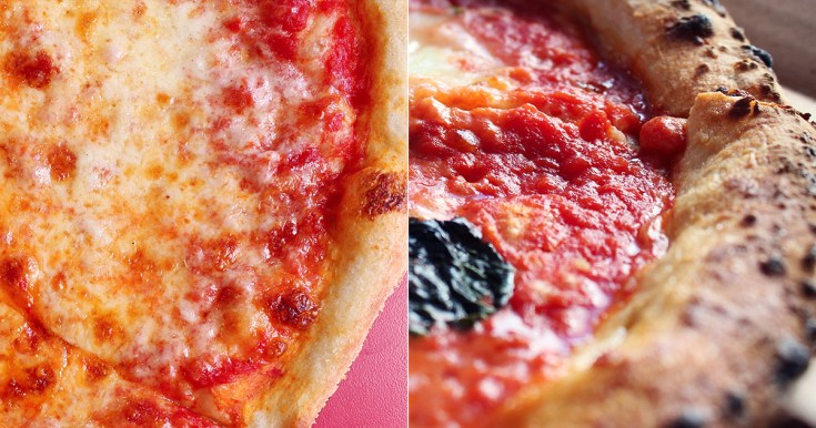 Comparison of sauce between New York-style and Neapolitan pizza