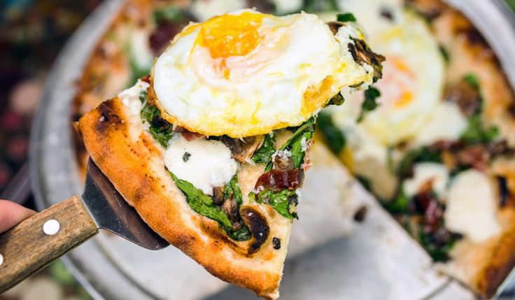 Brunch Pizza with ricotta eggs