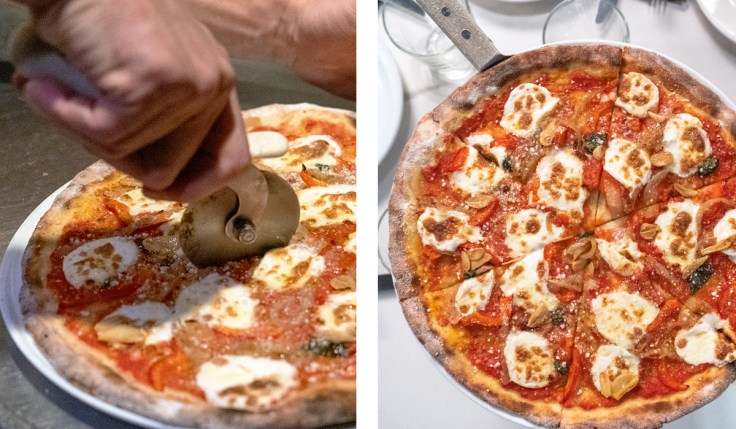 Cauliflower Crust pizza slicing
