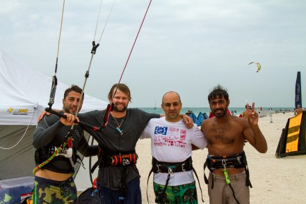Sam Light haning with the kite crew from Dubai.