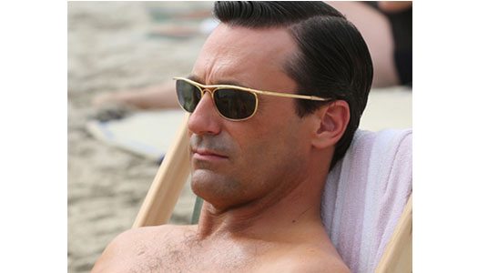 dcf26f1b1a3 Don Draper wears these cool rectangle frames while relaxing on a Hawaiian  beach in Season 6. Rectangle sunglasses are always dependable