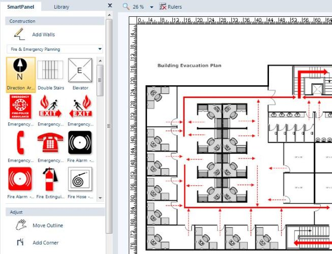 SmartDraw emergency and disaster planning tools let you quickly and easily create exit plans and other diagrams for critical situations.