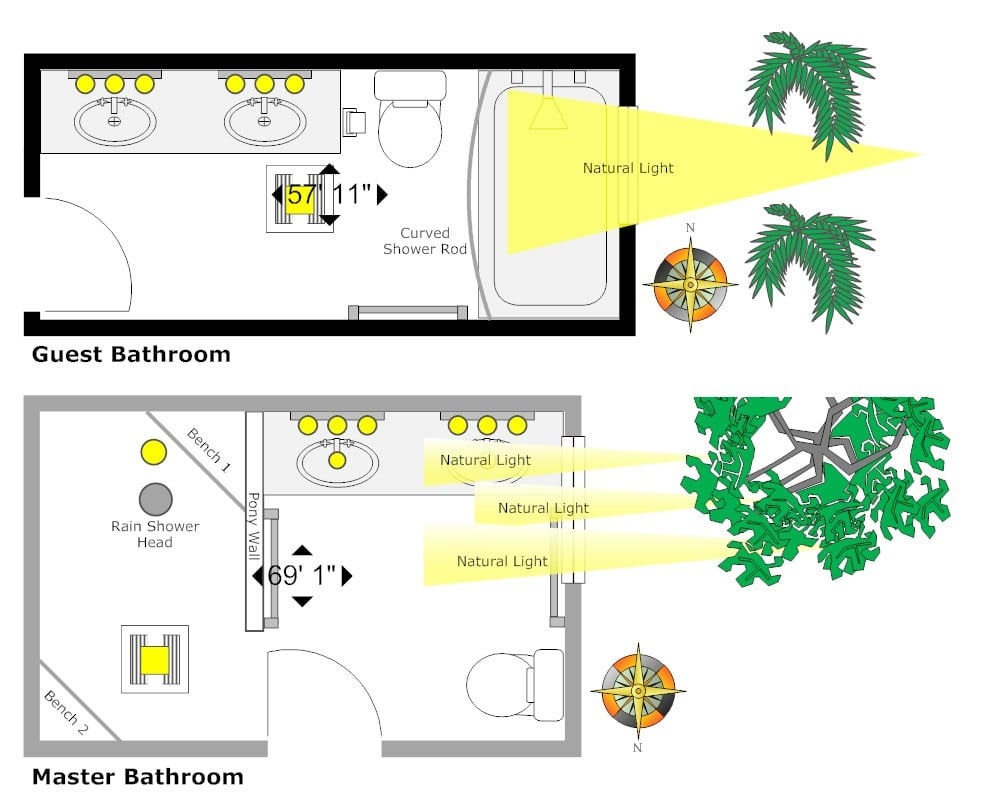 SmartDraw Tip To automatically calculate the area of a room first select the room. Navigate to the Design Ribbon select Dimensions.  sc 1 st  SmartDraw Blog & How to Enhance Your Bathroom Lighting - SmartDraw Blog azcodes.com
