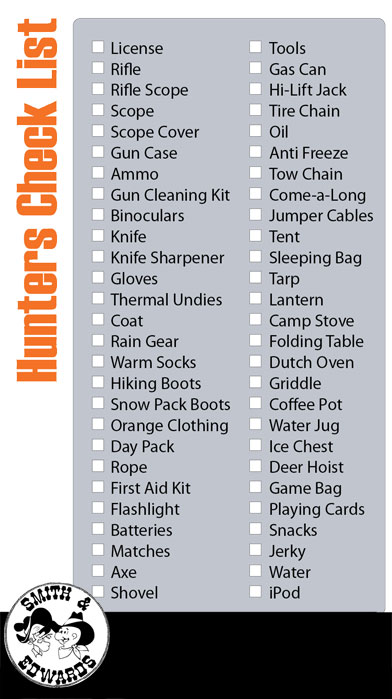 Hunter's Checklist from Smith and Edwards