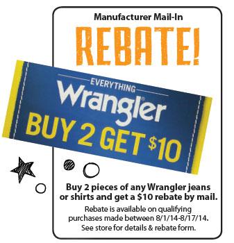 Wrangler Buy 2 get $10 rebate