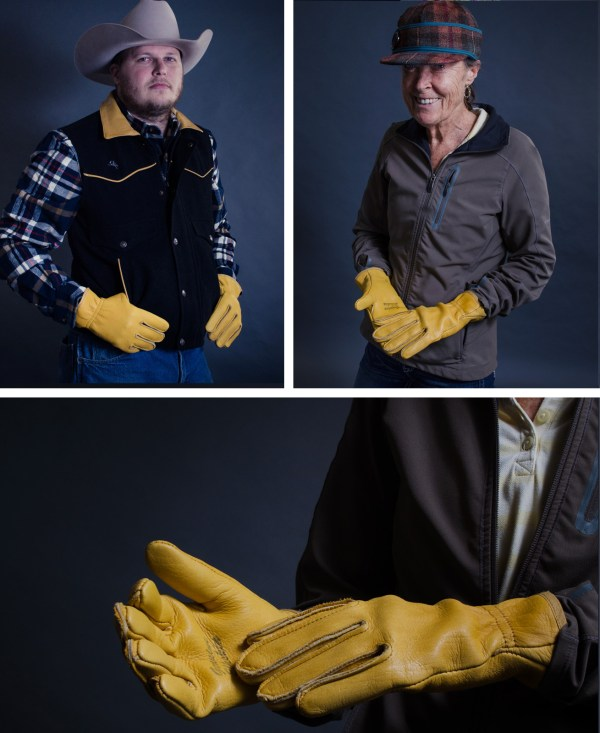 Kevin and Jean modeling our Yellowstone elkskin and deerskin gloves.