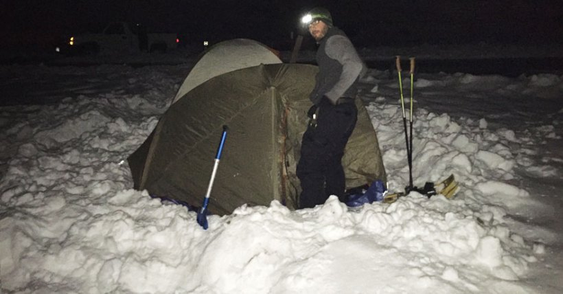 Klondike scoutmaster setting up tent - Photo courtesy Chris Ward