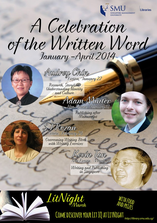 "Poster for ""A Celebration of the Written Word"", a series of talks and activities organised by the SMU Li Ka Shing Library."