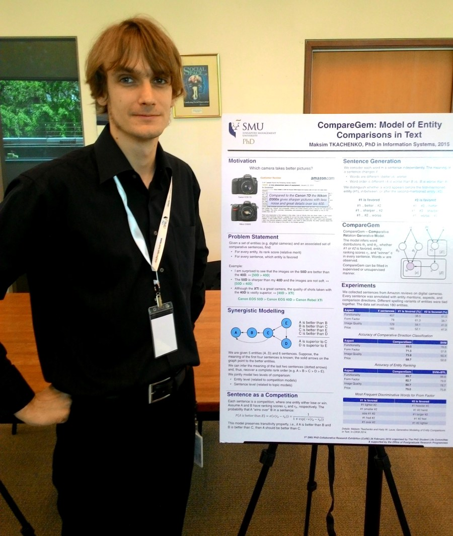Max presenting at the first SMU PhD Research Exhibition