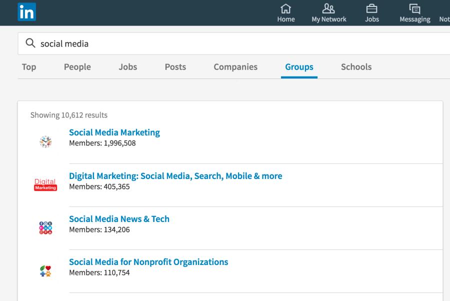 Screenshot of group search via LinkedIn