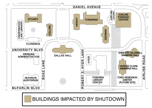 Buildings impacted by shutdown