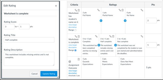 picture showing rubrics split rating edit rating
