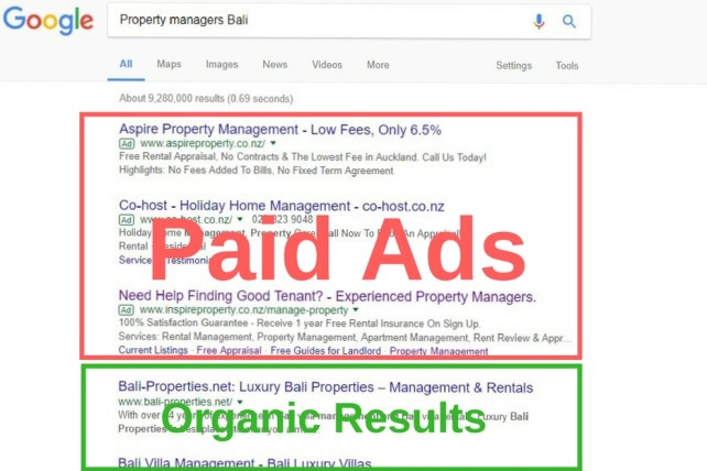 SEO paid vs organic results search engine optimization property management