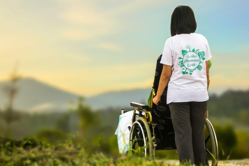 persona en silla de ruedas mirando el paisaje
