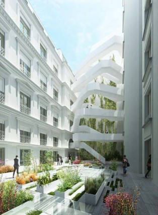 The Shift building in Paris, France, featuring a facade made of Corian® Exteriors panels based on Corian® Solid Surface in Glacier White colour and a staircase that connects the two structures and streamline the flow of people on the move; rendering by Axel Schoenert Architectes, all rights reserved.