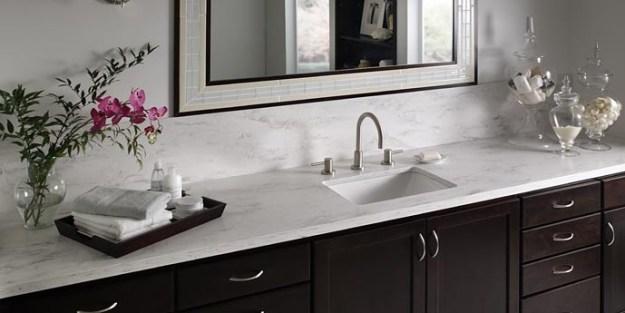 Corian solid surface vanity top in Raincloud.