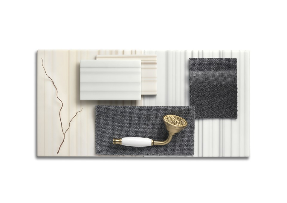 Corian Moodboard displaying samples of the Linear Solid Surface Collection