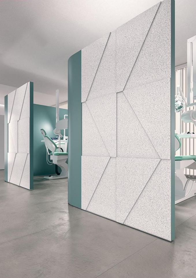 Dentist office designed using Corian Domino Terrazzo solid surface