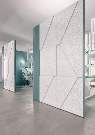 Dentist office designed using Corian Domino Terrazzo solid surface