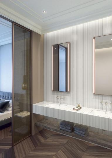 Hospitality application using Silver Linear Colors of Corian solid surface