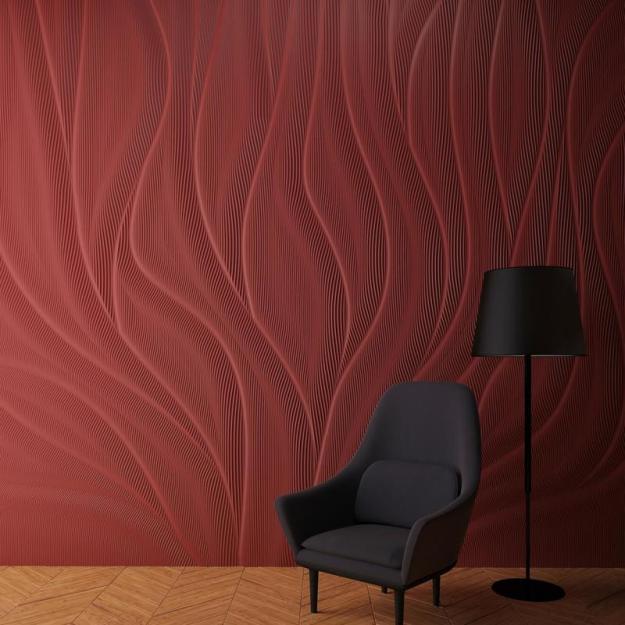 """FLAME,"" custom Corian® solid surface wall by M.R. Walls designer Mario Romano."
