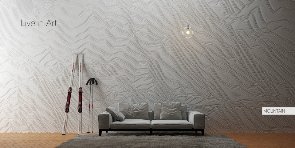 """MOUNTAIN"" custom solid surface wall by artist and designer Mario Romano (M.R. Walls)."