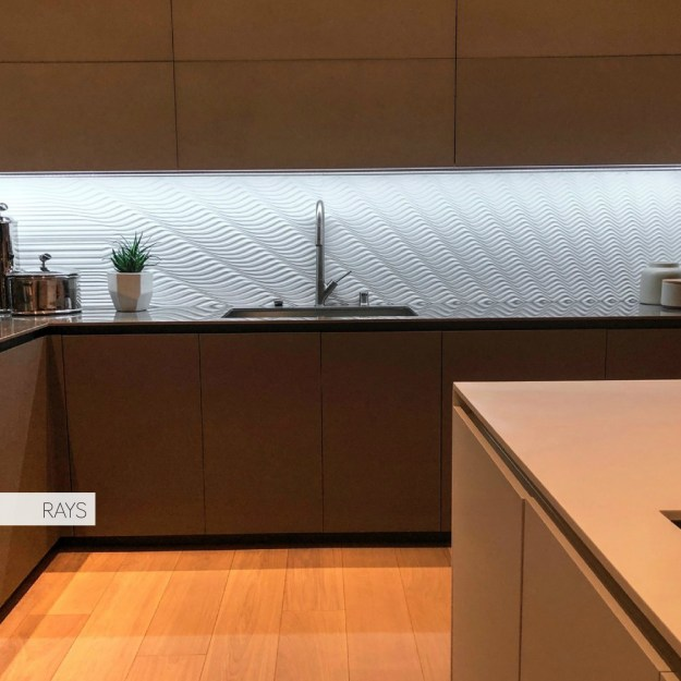"Kitchen Backsplash ""RAYS"" by M.R. Walls, Artist Mario Romano."