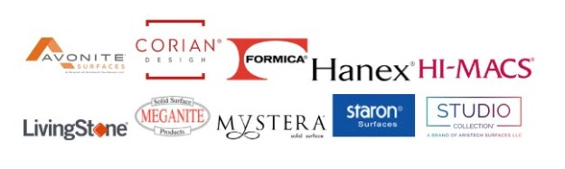 Logos of popular solid surface brands