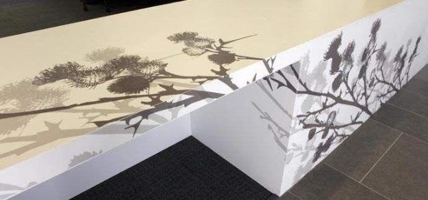 Solid surface countertop using dye-sublimation.