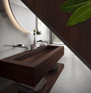Solid surface sink in Mahogany Nuwood from Corian®