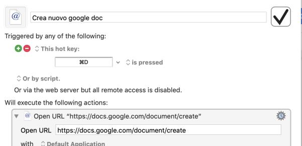 la mia macro per creare un nuovo documento con keyboard maestro