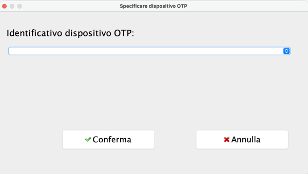 Panello specifica dispositivo OTP