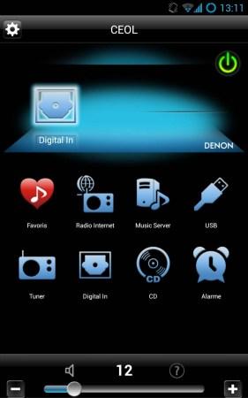Le menu principal de l'application Denon Remote App