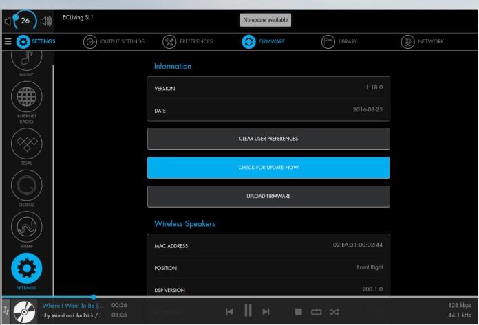 L'interface du serveur web de l'enceinte Electrocompaniet SL-1