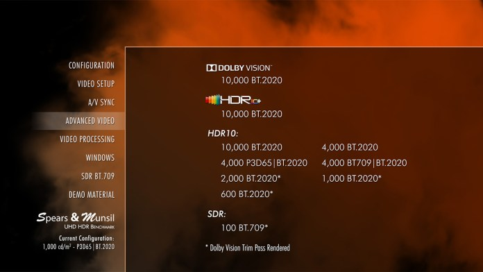 Menu du disque Blu-ray 4K Spears & Munsil UHD HDR Benchmark