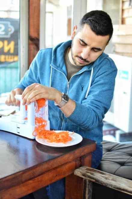 Shreding the carrots - Sonoran Spice